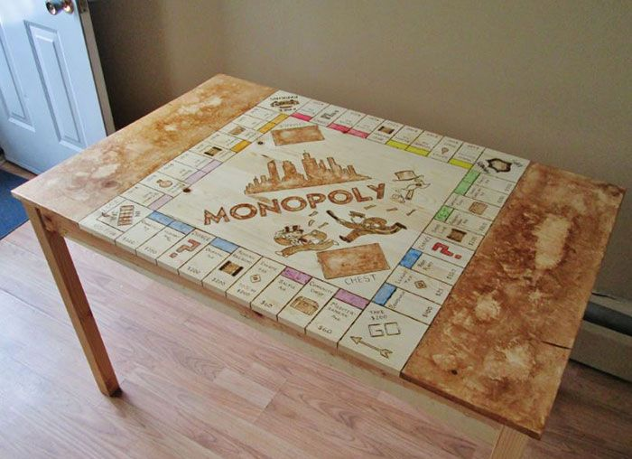 I Spent 40 Hours Transforming My Old Kitchen Table Into A Monopoly Board | Bored Panda