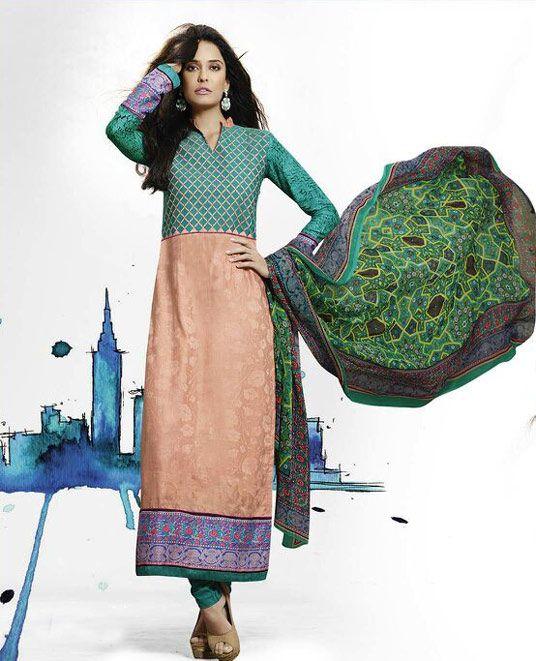 $61.53 Peach Cotton Pakistani Style Suit 57251