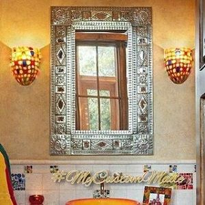Custom made mirrors made of punched tin, wrought iron and wood. Mirror frames designs for living room, bedroom and all other indoor home areas. #mirrors #homedecorations