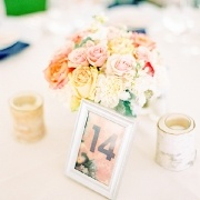 pink, orange, and navy centerpiece florals, vintage vases, Mandy Mayberry Photography, Gracie Lou Events, Pink and navy weddings, Moraine Farm