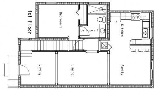 Floor Plans Small Homes - I would make family area our dining and then rest one bigger living/family