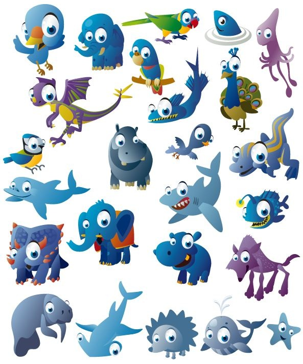 Funny cartoon blue animals vector