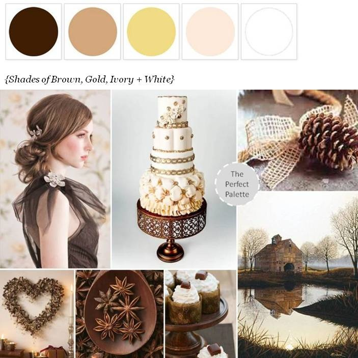 Brown And Gold Wedding Ideas: Rustic Shades Of Brown, Gold + Ivory Wedding ... #Wedding