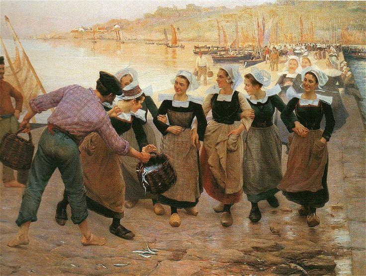 """""""Les Sardinières de Concarneau"""", Peinture d'Alfred Guillou"""