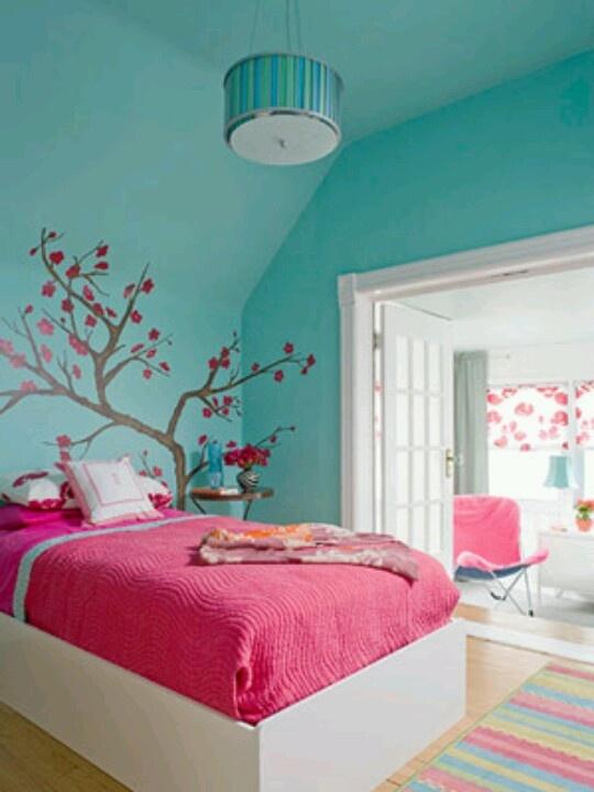 Aqua cherry blossoms and dragon flies/owls. Merri's bedroom colour scheme