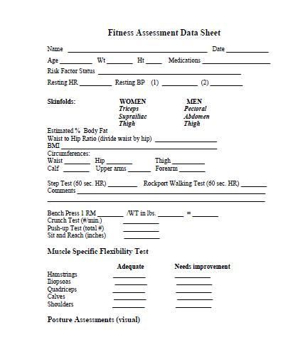 printable fitness assessment forms | Assessment, Fitness ...