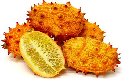One of the most unusual fruit in appearance, the Horn melon produces spiky points throughout its bright yellow and orange, mottled skin. The interior contains a rich, jelly-like, lime green flesh studded with white seeds reminiscent of cucumber seeds. The melon has a sweet and tart, banana-lime taste. A flavor which is enhanced when chilled. The brighter the orange skin, the sweeter the flesh of the fruit. The Horn melon is the size of a large pear and generally weighs less than one pound.