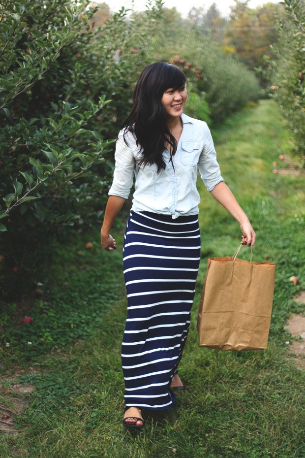 3 Ways To Wear A Striped Maxi Skirt Maxi skirts may be a bit of a throwback to the 70's, but these days they are more popular than ever. Women love them, especially in spring and summer because they're cool, casual and feminine when you want to feel feminine but you don't want to wear .