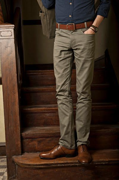 raw blue oxford. khaki pants. brown belt. brown brogues. watch. messenger bag. casual. everyday. out on the town. style.