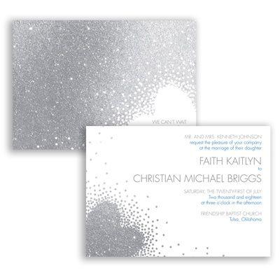 wallet online Grey glitter wedding invitation from  davidsinvites