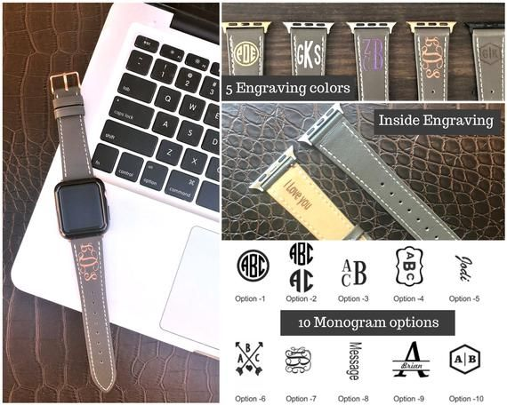 Monogram Apple Watch Band 42mm Series 4 Personalized Apple Watch