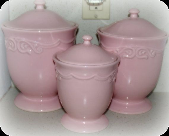 Shabby soft pink canisters by MyShabbyBungalow on Etsy, $50.00