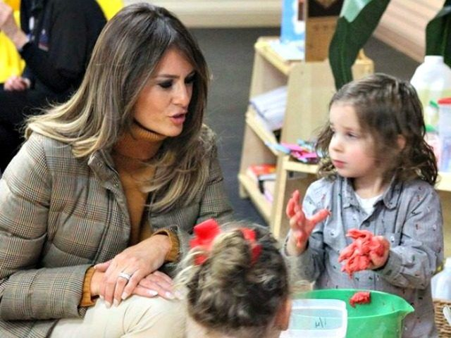 First lady Melania Trump stopped at a military base in Anchorage, Alaska to visit children at a pre-school on her trip back to D.C. from Asia