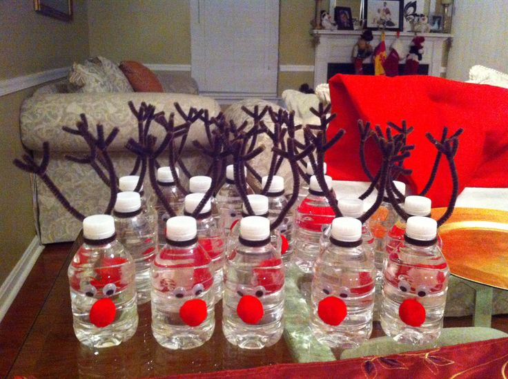Class Christmas Party Ideas Part - 45: I Decorated These Reindeer Bottle Waters For My Daughtersu0027 Kindergarten  Holiday Party This Week.