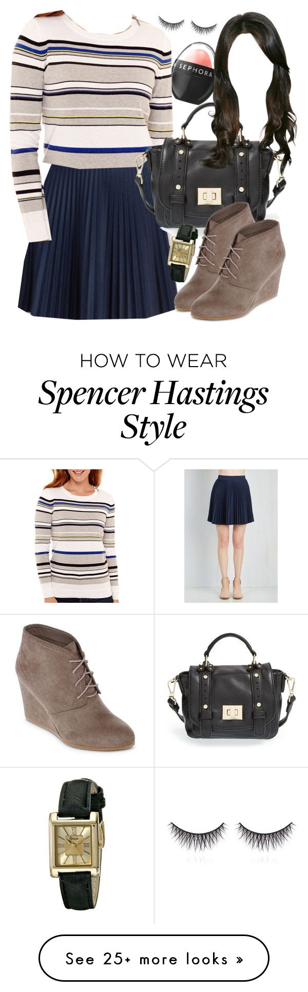 """Spencer Hastings inspired outfit with requested skirt"" by liarsstyle on Polyvore featuring moda, Sephora Collection, Liz Claiborne, Sole Society, Arizona, Geneva, shu uemura, college, mid e museum"