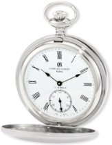 Charles-Hubert, Paris 3908-WR Premium Collection Stainless Steel Satin Finish Double Hunter Case Mechanical Pocket Watch