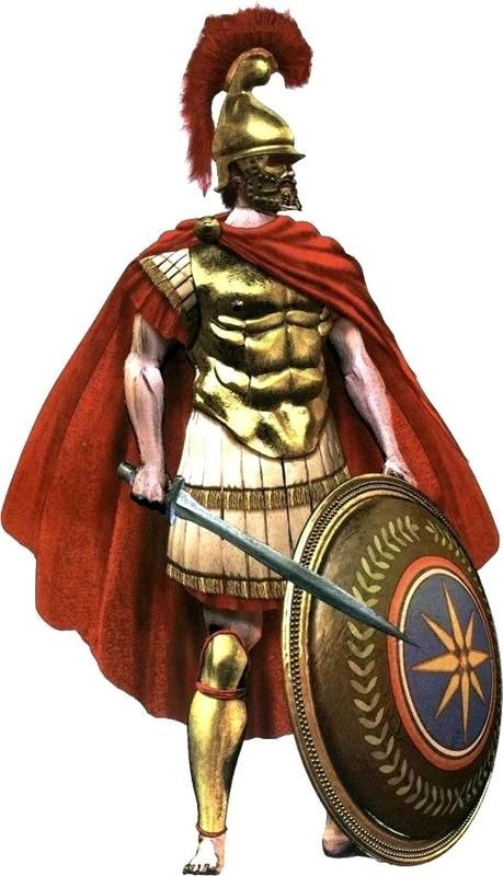 Macedonian Hypaspist (heavy infantry), with muscled cuirass, double-edged sword, Phrygian helmet and the Vergina sun emblazoned on his shield.