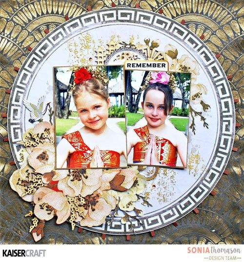 'Remember'' Layout by Sonia Thomason. Design Team member for Kaisercraft. Featuring 'Fan Pattern Gold Foil' from 'Hanami Garden' Collection [February 2017] - Learn more at kaisercraft.com.au/blog ~ Wendy Schultz ~ Scrapbook Layouts.