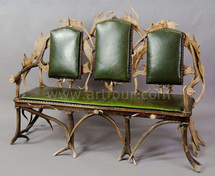 Antique Black Forest Three Seater Antler Sofa 1900
