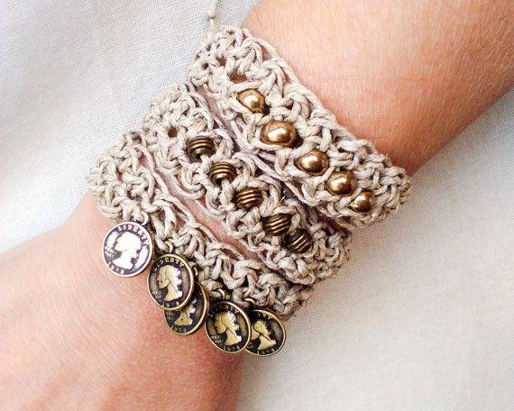 Boho wrap bracelet - Beaded tribal bracelet - Crochet hemp bracelet - Friendship bracelet - Bridesmaids gift - Tribal Bohemian Jewelry