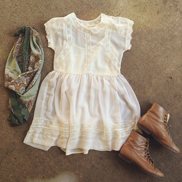 lace dress | brown boots
