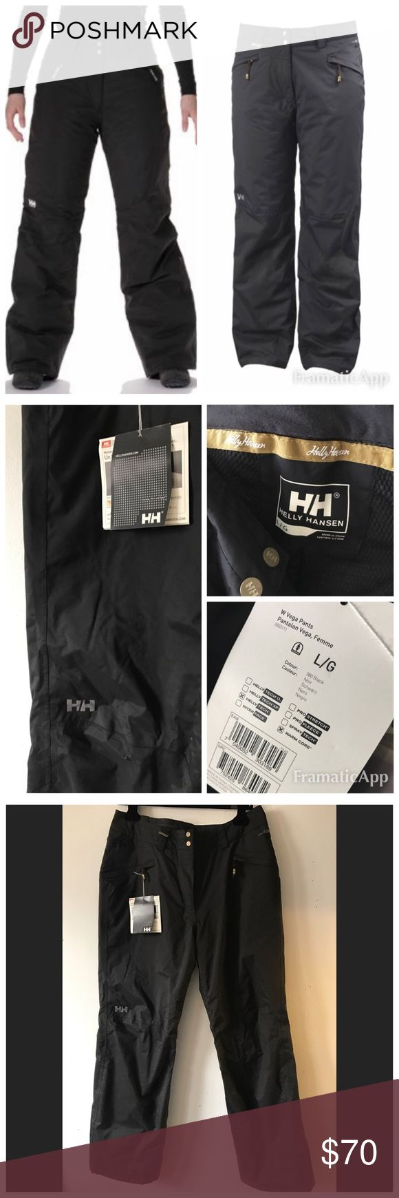 NWT Helly Hansen Vega Ski Snow Pants size L $129 NWT Helly Hansen Women's Vega Pants size L Designed for a woman's frame. features a waterproof/breathable exterior & critically-placed insulation for unparalleled warmth & cold-weather protection. the lower legs are detailed w/a reinforced hem that minimizes abrasion from ice & ski edges, while stretchy boot gaiters keep snow out Belt loops & tailored fit * Fully seam sealed * Warm Core by Primaloft 60g * Recco Advanced Rescue system…