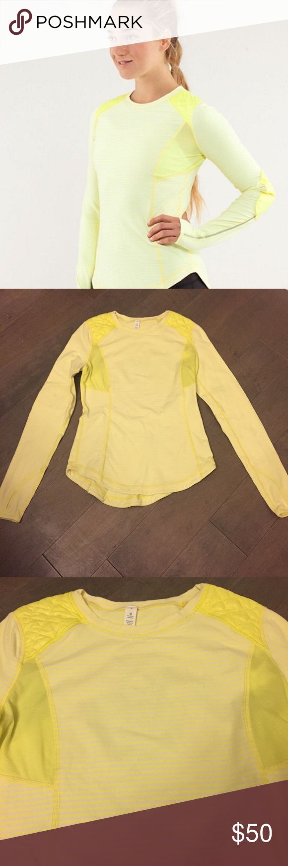 Lululemon Yellow Long Sleeve Top Padded Shoulders Unique and amazing Lululemon yellow long sleeve Workout/yoga top. Nice reflective strips for great visibility and unique shoulder and elbow padding for great wearability. The under arms have lightweight material meant to breath and the main fabric is very thick and stretchy. Great form fitting long sleeve with thumbholes on the sleeves too!! Size 6 in great condition--- small smudge on one sleeve. Should come out with a wash! Other than that…