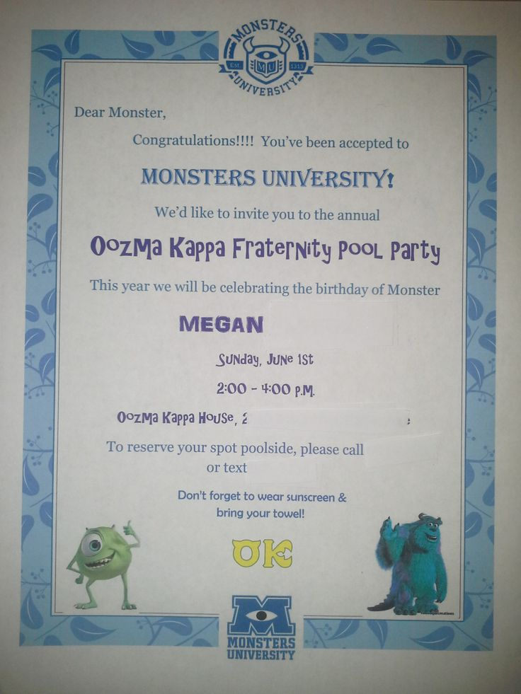 8 best monsters university birthday party images by paula on monsters university birthday invitation acceptance letter to monsters u oozma kappa fraternity pool party stopboris Choice Image