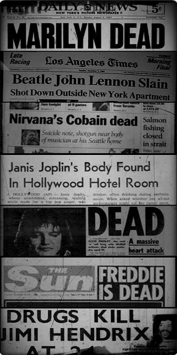 Iconic Celebrity Deaths Newspaper Headlines