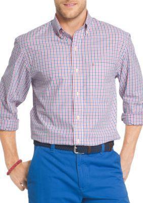 IZOD Rapture Rose Essential Long Sleeve Button Down Tattersall Shirt