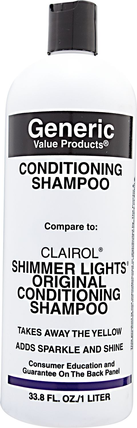 GVP Generic Value Products Conditioning Shampoo compare to Clairol Shimmer Lights Original Conditioning Shampoo brightens dull or faded hair color.