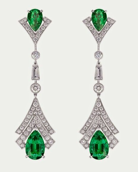 louis vuitton jewelry. vuitton acte v metamorphosis earrings featuring diamonds and emeralds. louis jewelry