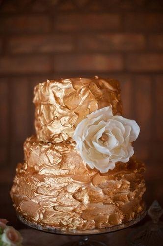 bronze wedding cake metallic - Top wedding cake trends 2013 - weddingsonline.ie