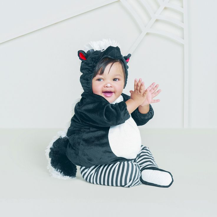 Halloween Baby Plush Skunk Vest Costume - 0-6 Months - Hyde and Eek! Boutique, Infant Boy's, Black White