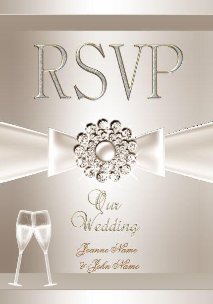 rsvp elegant wedding damask cream white champagne card elegant
