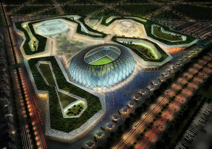 zaha hadid + AECOM to design 2022 FIFA world cup stadium. This could be problematic for security to monitor and control when multiple games are letting out at the same time.