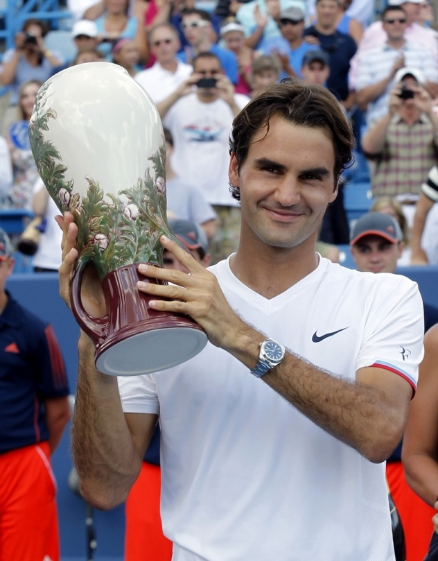 Roger Federer after he defeated Djokovic in the final of the Western & Southern Open 2012 (6-0 7-6)