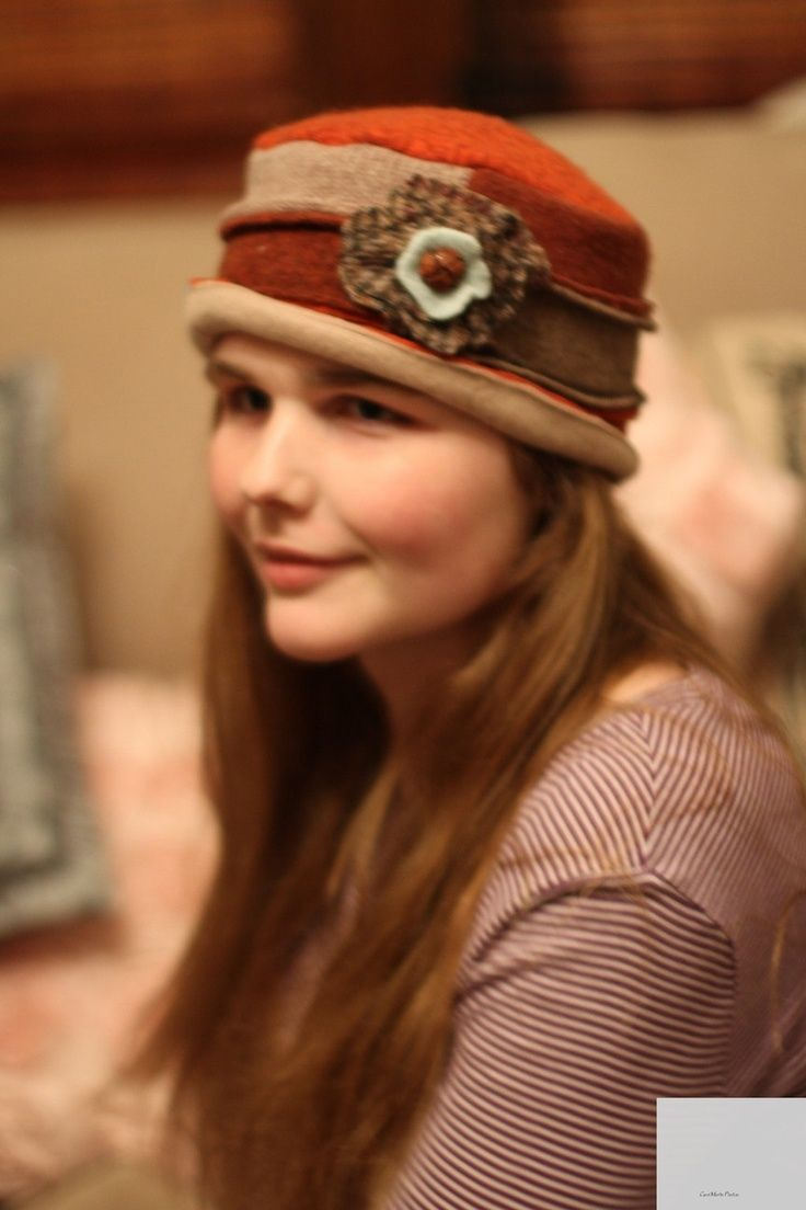 Warm and stylish hat in rust, tan and aqua  made from recycled wool sweaters.. $30.00, via Etsy.