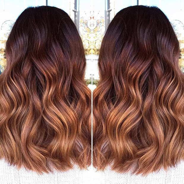 Rose Copper Mahogany Medium Length Hair