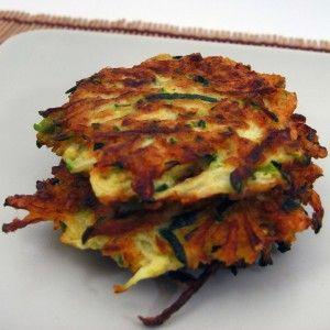 Zucchini Fritters.  Salt shredded zucchini, rinse, squeeze excess liquid.  Add spring onions, minced garlic, herbs, &  milk if needed, S.