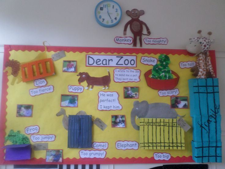 baby room display board. Dear Zoo.