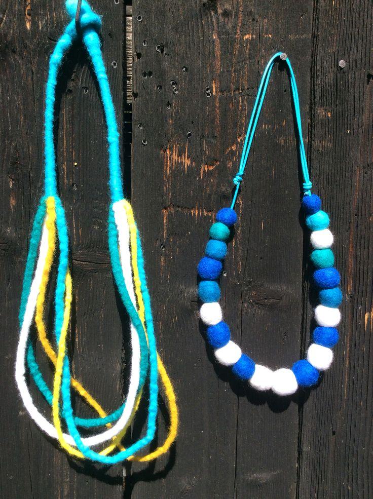 Plstene nahrdelniky,  felt necklace