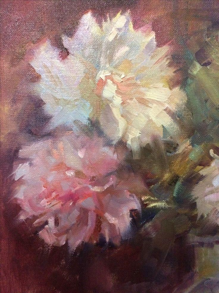 Detail Peonies, oil painting by Heidi Hjort 2017 | Shabby Chic