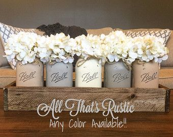Set of 4 Mason Jar Centerpiece in Rustic Planter by AllThatsRustic