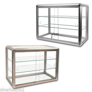 glass countertop display case store fixture showcase key lock 3 shelf silver s1 ebay