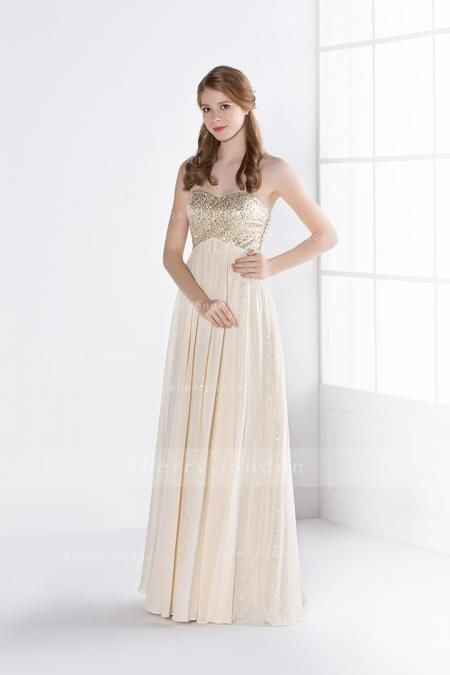 BEADING STRAPLESS A-LINE LONG CHIFFON PROM DRESS