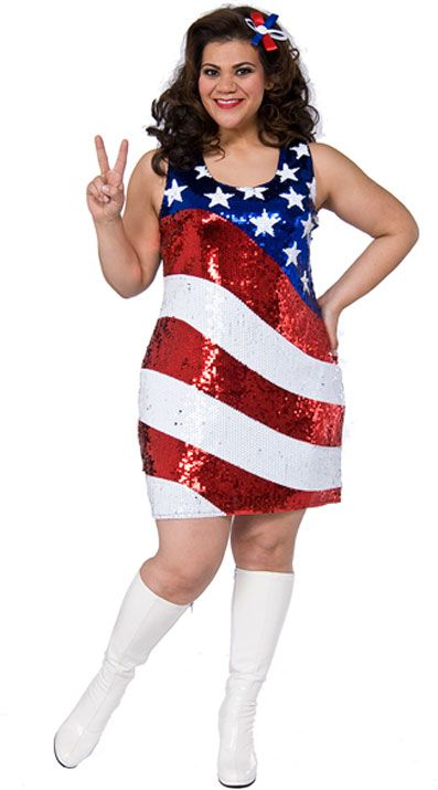 USA Stars and Stripes American Flag Plus Size Sequin Dress ...