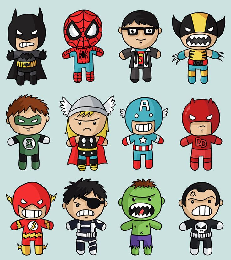 SUPERHEROES! These are adorable, while being so fierce! Reminds me of little kids getting face painted as superheroes.