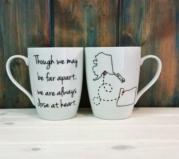 TWO Long distance mugs, best friends mug, state mug, relationship mug, going away gift, custom mug, 2 sided mug