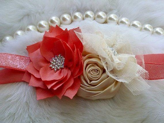 Melocotón flor marfil bebé diadema lactante diadema, recién nacido diadema/niño venda o niñas diadema o niñas banda de pelo niña